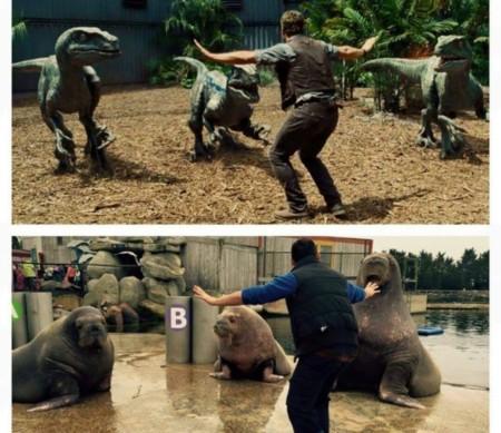 Cuidadores de zoo imitan una escena de Chris Pratt en 'Jurassic World', la imagen de la semana