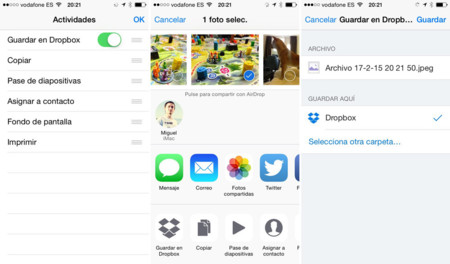 Guardar en Dropbox con iOS 8