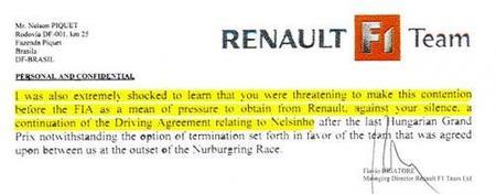 La carta de Flavio Briatore a Nelson Piquet