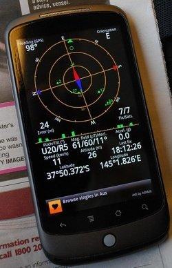móvil androide con un programa de GPS