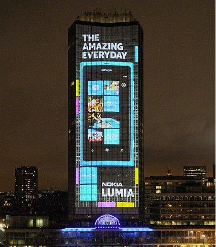 Nokia Lumia 800 se presenta a lo grande en Londres, imagen de la semana