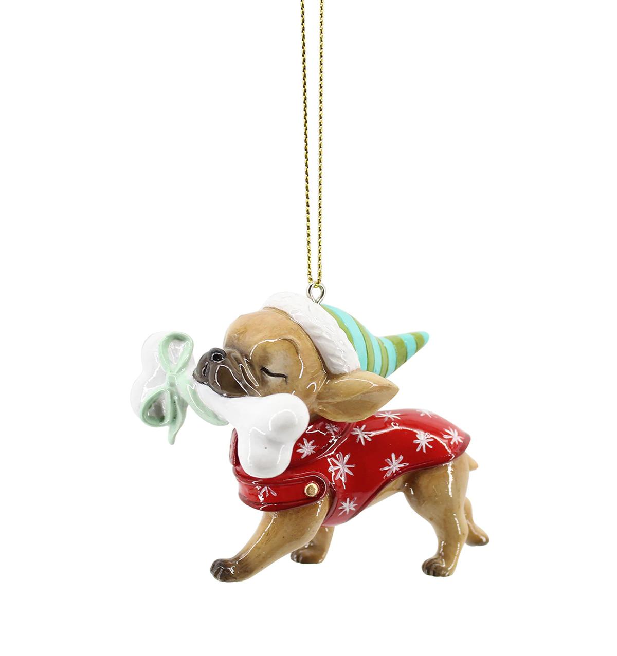 Colgante de Navidad con forma de bulldog