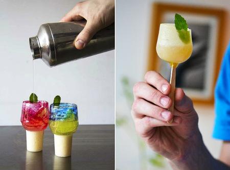 Preciosos vasos comestibles de azúcar que se disuelven en la bebida que contienen