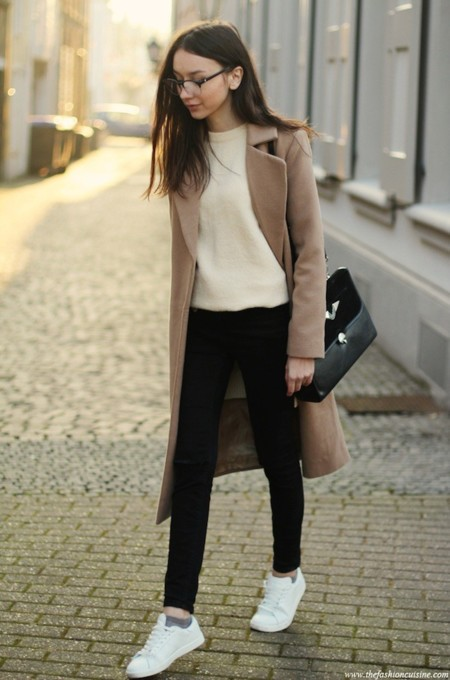 Oversized Camel Coat Crew Neck Sweater Asos Busted Knee Jeans White Sneakers 1