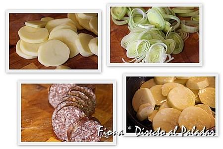Pincho de morcilla, puerro y patata a lo pobre