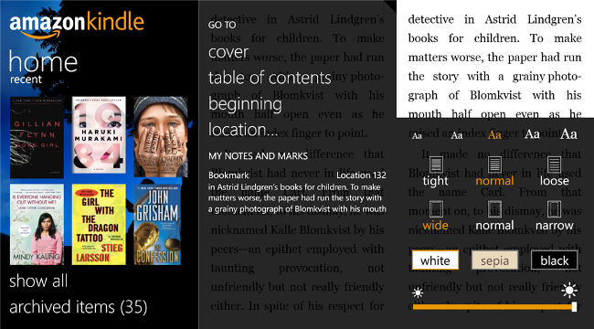 Amazon Kindle funcionando sobre Windows Phone