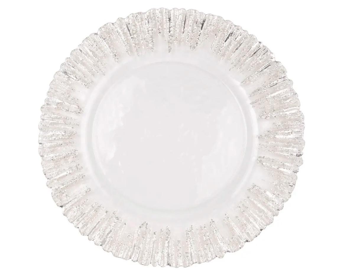 Bandeja de cristal con motivos plateados