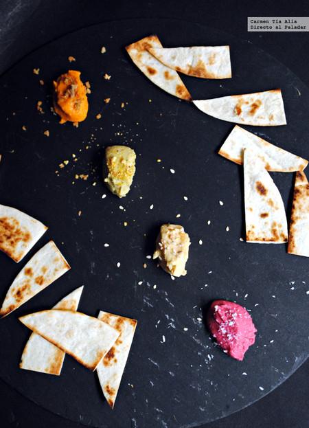 Cuarteto De Hummus Tradicional De Pesto De Remolacha Y De Piquillo