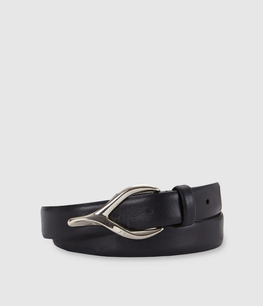 Cinturón de mujer El Corte Inglés de piel en negro con hebilla picuda