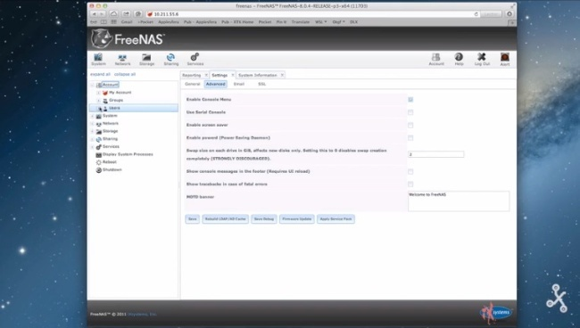 Interfaz web FreeNAS