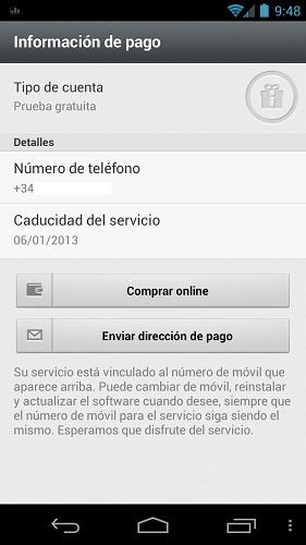 Información de pago de Whatsapp