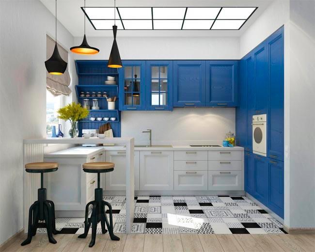 Cocina Azul Y Blanca Barra Desayunos Con Taburetes