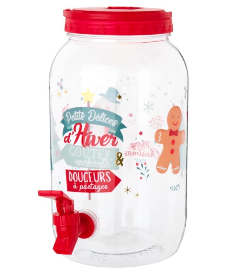 Expendedor de bebida de Navidad de plástico estampado