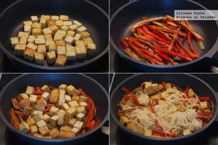 Fideos Arroz Tofu Pimiento Pasos