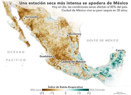 Mapa Mexico Sequia Nasa