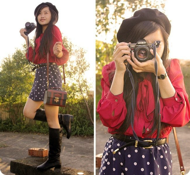 Lunares moda look calle: falda