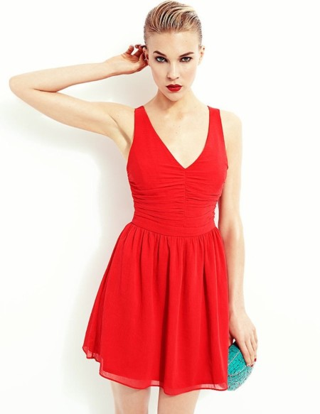 vestido rojo blanco rebajas 2014
