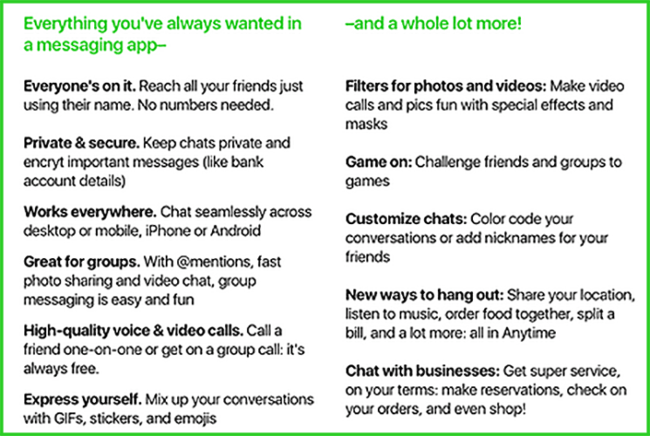 Amazon Anytime Chat Aplicación Feature List