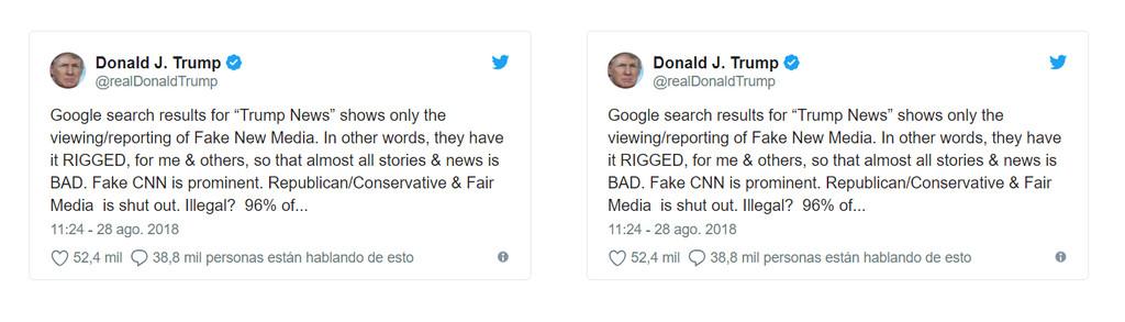 Tuits Trump Google
