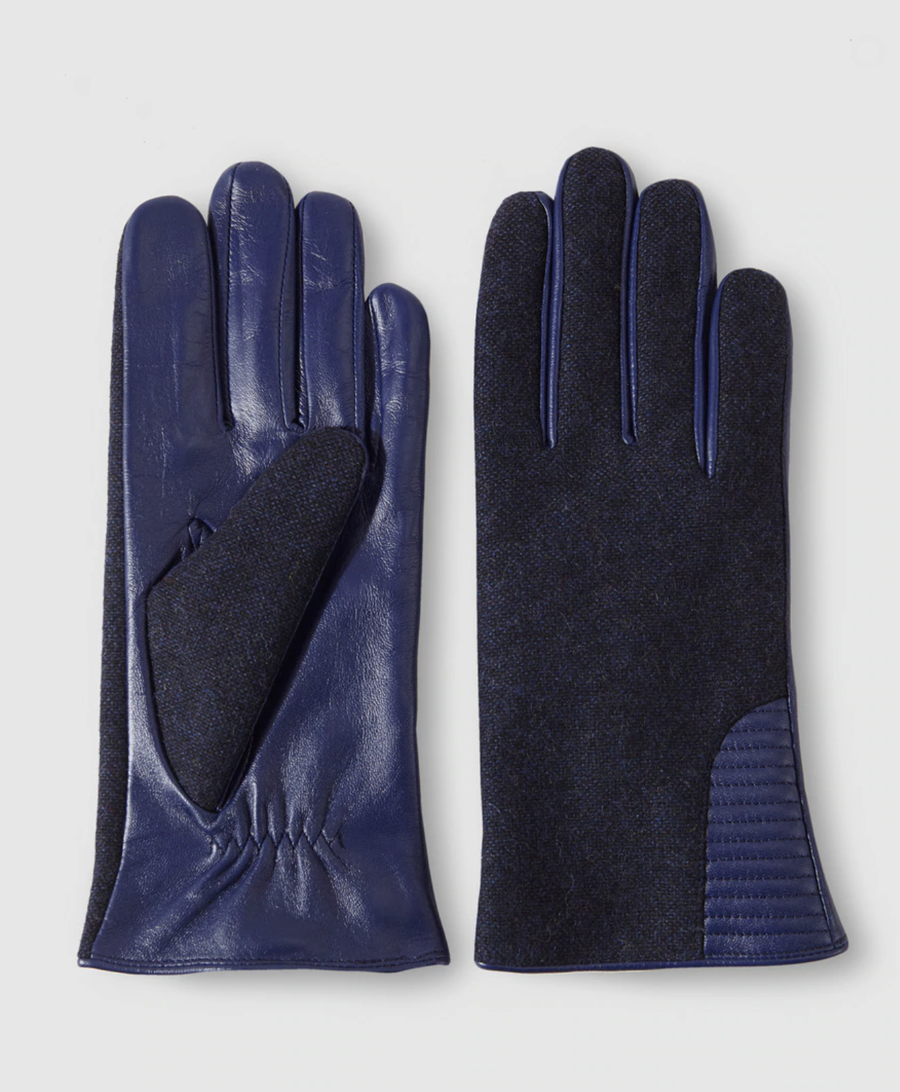 Guantes de mujer Georges Rech combinados de piel y tejido en azul marino