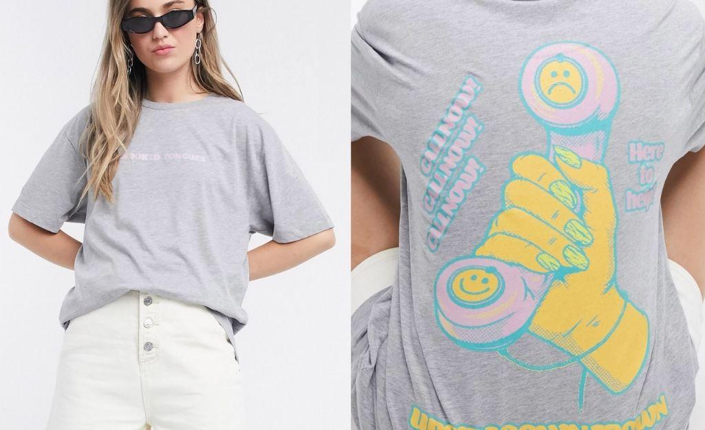 Camiseta extragrande con gráfico hotline de Crooked Tongues