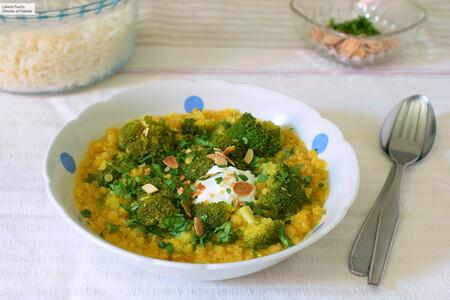 Lentejas Rojas Al Curry Con Brocoli