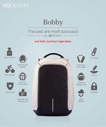 1 Bobby Antitheft Backpack Travel Xddesign