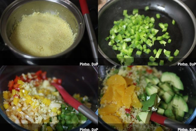 Receta de cous cous con frutas y verduras. Pasos