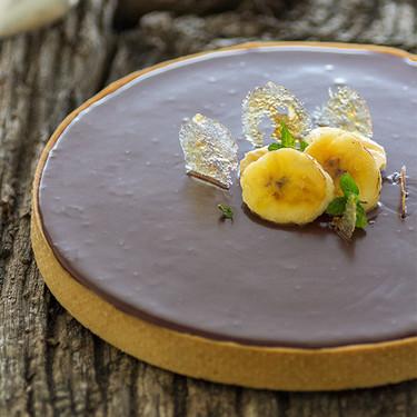 Tarta de ganache de chocolate y plátano. Receta