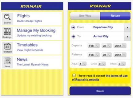Aplicaciones viajeras: Ryanair ¿Hacia la tarjeta de embarque electrónica?