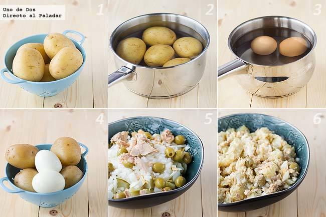 Ensalada de patata y bonito paso a paso
