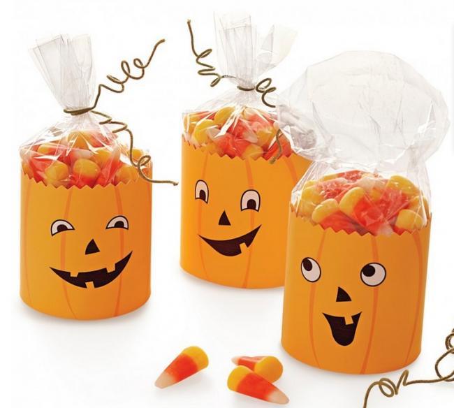 Calabazas de halloween para decorar bolsitas de chuches - Decorar calabaza halloween ninos ...