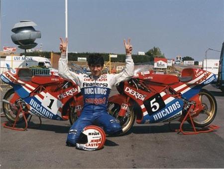 Aspar campeón del mundo de 80 cc y 125 cc en 1988