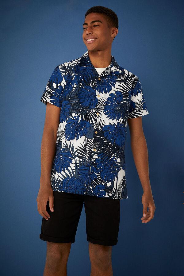 Camisa manga corta estampado tropical
