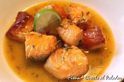Salmón en salsa de naranja y lima. Receta