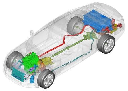 Esquema del sistema híbrido del Jaguar XJ_e
