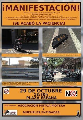 Manifestación motera el 29 de octubre en Barcelona