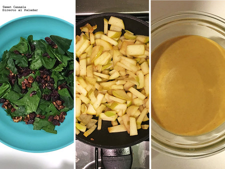 ensalada de espinacas, manzana y nueces con aderezo de mostaza