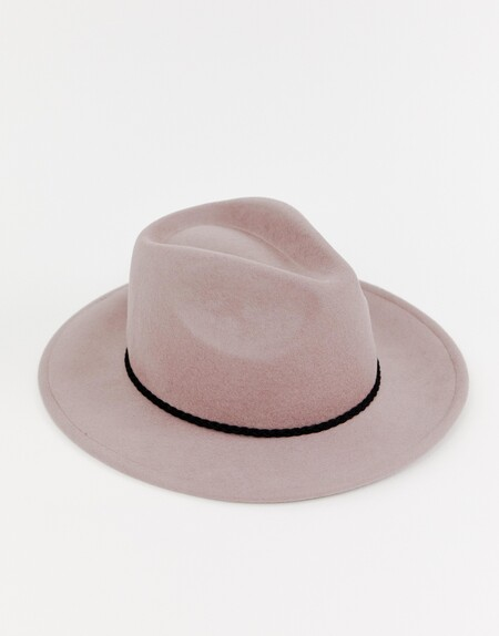 Asos Design Felt Fedora Hat With Plait Braid Trim And Size Adjuster 1