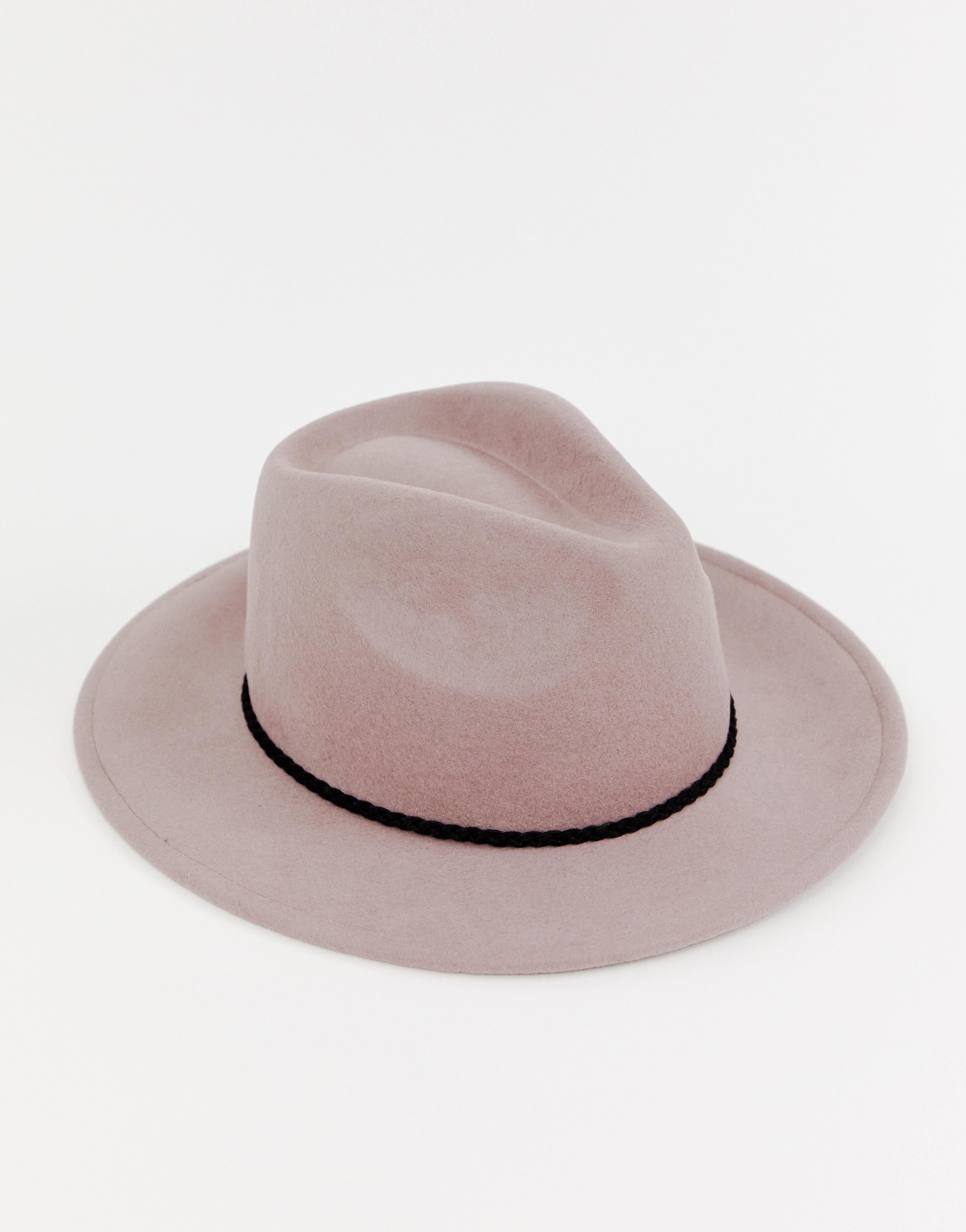 Sombrero fedora de fieltro con ribete trenzado y ajuste de tamaño de ASOS DESIGN