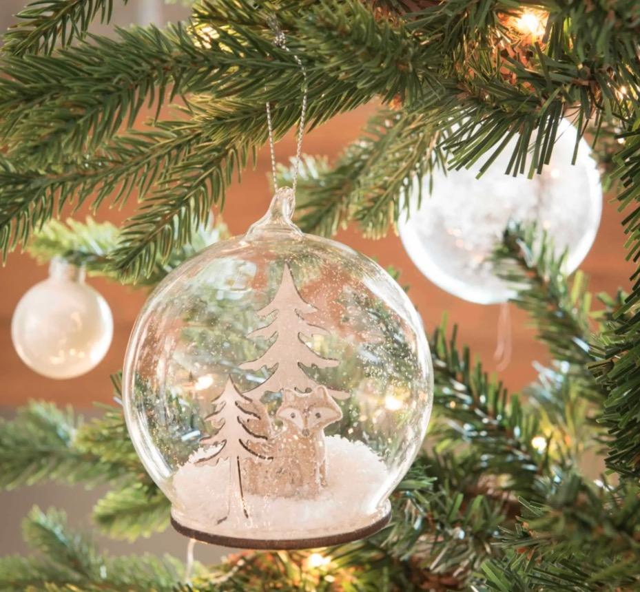 Bola de Navidad de cristal con decoración de árboles y zorro Bergen