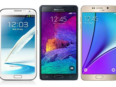 Así han sido los 5 años recién cumplidos de la familia Galaxy Note de Samsung