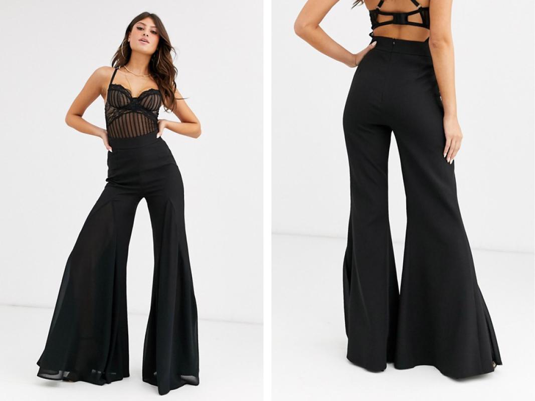 Pantalones de sastre de campana en negro de Boohoo