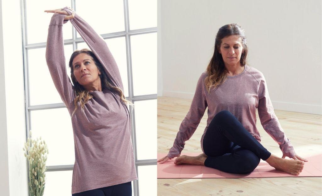 Camiseta de algodón extensible, un corte amplio y muy largo para las sesiones de yoga.