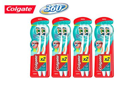 Pack de 8 cepillos Colgate Oral Care 360 MaxWhite por 8,25 euros y envío gratis con Amazon Prime