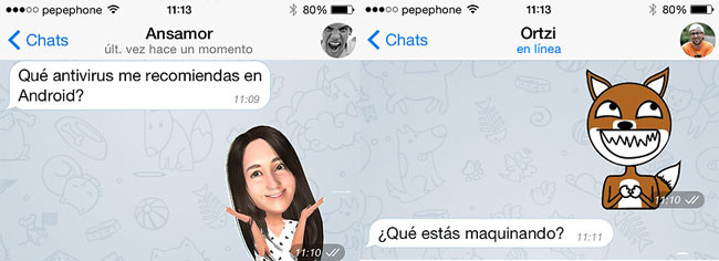 Conversaciones con stickers en Telegram