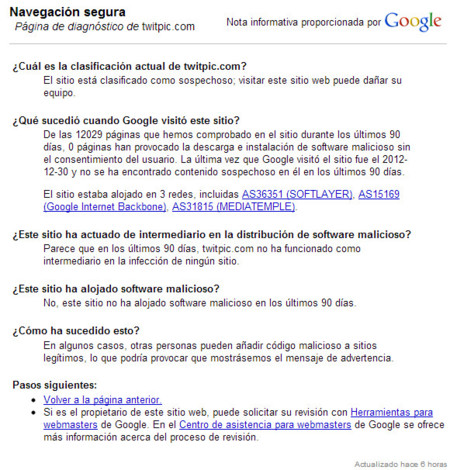 Información de Google sobre TwitPic