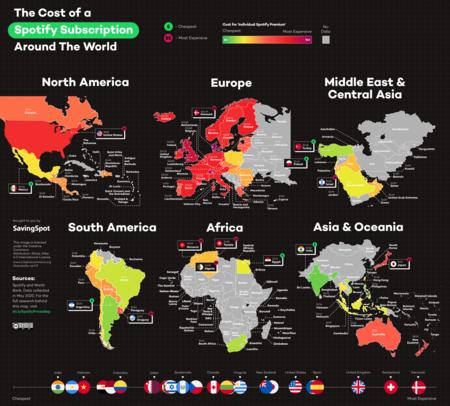 Mapa de precios absolutos de la suscripción de Spotify en cada país.