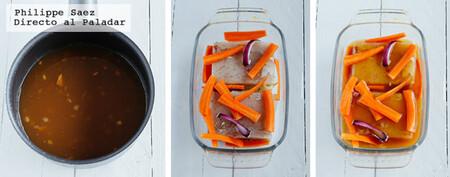 Pescado al horno en salsa dulce y Sriracha. Receta fácil para la Cuaresma
