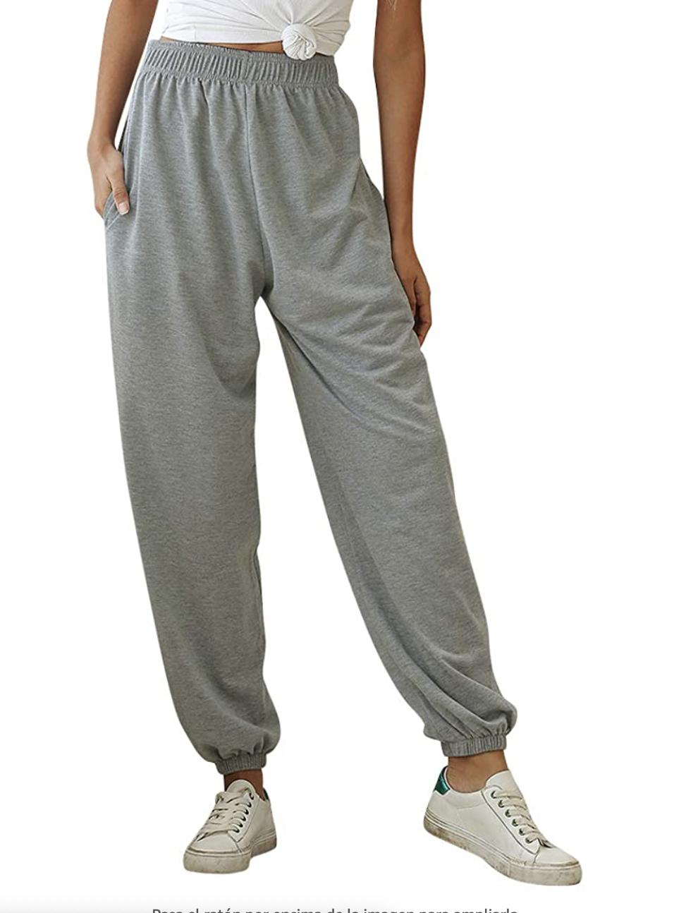 Nuofengkudu Mujer Harem Pantalones Jogging con Bolsillos Elastica Cintura Alta Comodo Llanura Largos Pantalón Deportiva Jogger Pants Sweatpants Casual Ropa de Casa